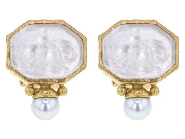"Elizabeth Locke Crystal Venetian Glass Intaglio ""Cherub with Lion"" Earrings With Bottom Pearl thumbnail"