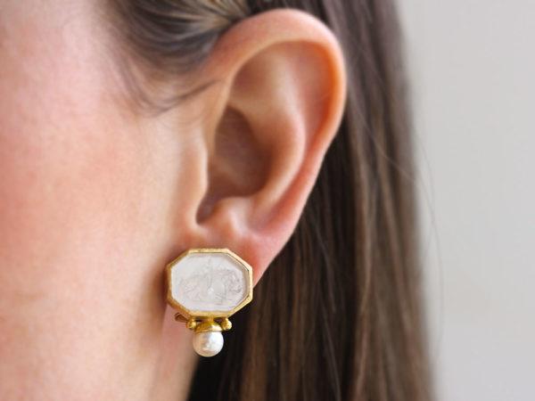 "Elizabeth Locke Crystal Venetian Glass Intaglio ""Cherub with Lion"" Earrings With Bottom Pearl"