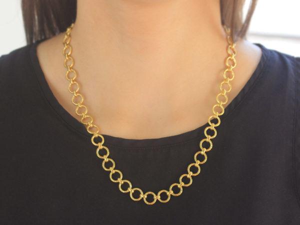 "Elizabeth Locke 21"" ""Farnese"" Small Hammered Link Necklace"