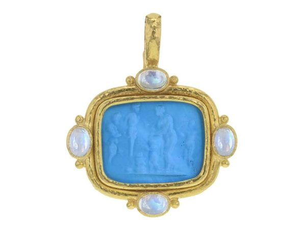"Elizabeth Locke Swimming Pool Venetian Glass Intaglio Cushion ""Pan Picnic Antique"" Pendant With Four Cabochon Moonstones and Gold Dots thumbnail"