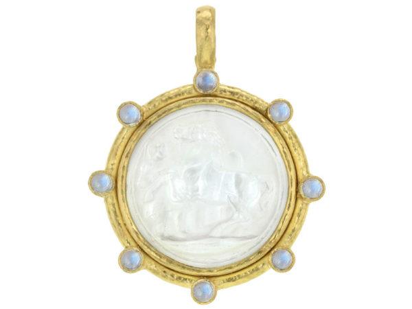 "Elizabeth Locke Crystal Venetian Glass Intaglio ""Ancient Horse"" & Cabochon Moonstone Pendant thumbnail"