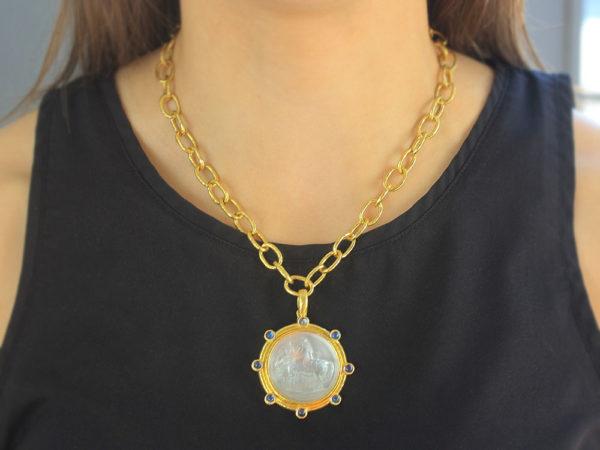 "Elizabeth Locke Crystal Venetian Glass Intaglio ""Ancient Horse"" & Cabochon Moonstone Pendant"