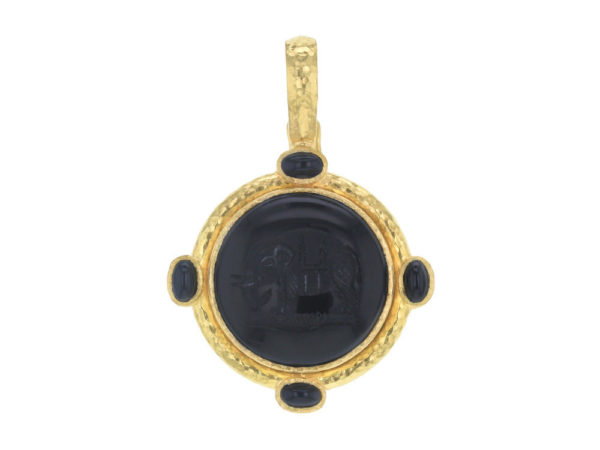 "Elizabeth Locke Onyx ""Elephant"" Round Seal Pendant With Onyx Stones and Thin Hinged Bale thumbnail"