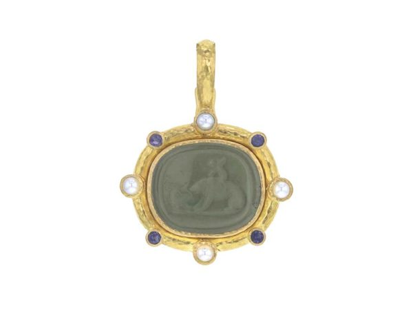 "Elizabeth Locke Smoke Venetian Glass Intaglio ""Cupid Riding Bear"" Pendant with Cabochon Labradorite and Pearls thumbnail"