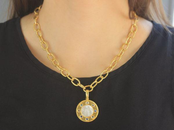 "Elizabeth Locke Crystal Venetian Glass Intaglio ""Man in the Moon"" Pendant with Cabochon Moonstone"