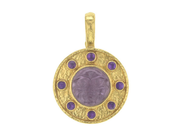 "Elizabeth Locke Mulberry Venetian Glass Intaglio ""Man in the Moon"" Pendant with Cabochon Amethyst thumbnail"