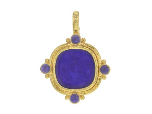 """Elizabeth Locke Cobalt Venetian Glass Intaglio Cushion """"Cupid Riding Lion"""" Pendant With Four Cabochon Iolites and Gold Dots On Outer Bezel thumbnail"""