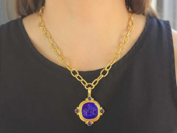 """Elizabeth Locke Cobalt Venetian Glass Intaglio Cushion """"Cupid Riding Lion"""" Pendant With Four Cabochon Iolites and Gold Dots On Outer Bezel"""