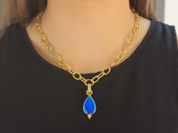 "Elizabeth Locke Peacock Venetian Glass Intaglio ""Teardrop"" Pendant with Bottom Gold Triad and Hinged Bale"