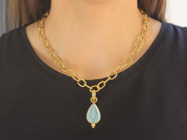 "Elizabeth Locke Light Aqua Venetian Glass Intaglio ""Teardrop"" Pendant with Bottom Gold Triad and Hinged Bale"