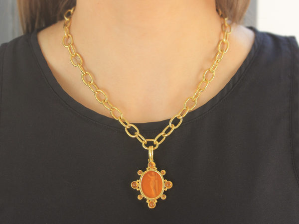 "Elizabeth Locke Amber Venetian Glass Intaglio ""Goddess with Column"" Oval Pendant with Cabochon Citrines"