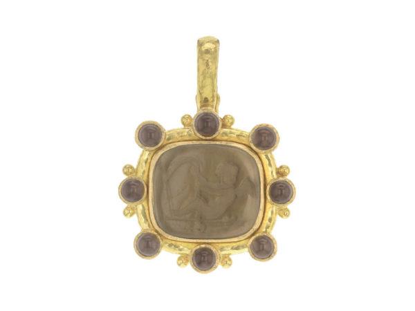 "Elizabeth Locke Bronze Venetian Glass Intaglio ""Cherub with Sail"" Pendant With Round Smoky Squartz Stones thumbnail"