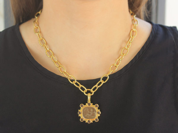 "Elizabeth Locke Bronze Venetian Glass Intaglio ""Cherub with Sail"" Pendant With Round Smoky Squartz Stones"