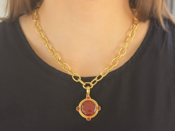 "Elizabeth Locke Carnelian ""Elephant"" Round Seal Pendant With Carnelian Stones and Thin Hinged Bale"