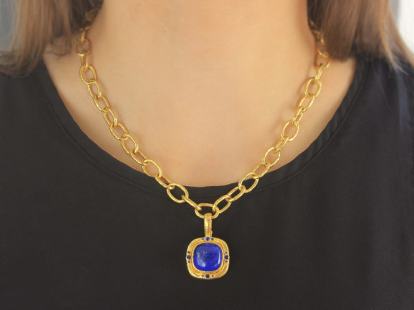Elizabeth Locke Square Cushion Lapis Pendant with Four Sets of Blue Sapphires on Bezel with Thin Hinged Bale
