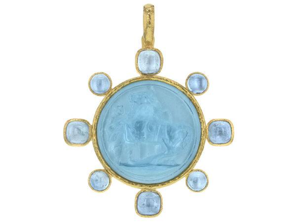 "Elizabeth Locke Light Aqua Venetian Glass Intaglio ""Ancient Horse"" Pendant with Cabochon Aquamarines thumbnail"
