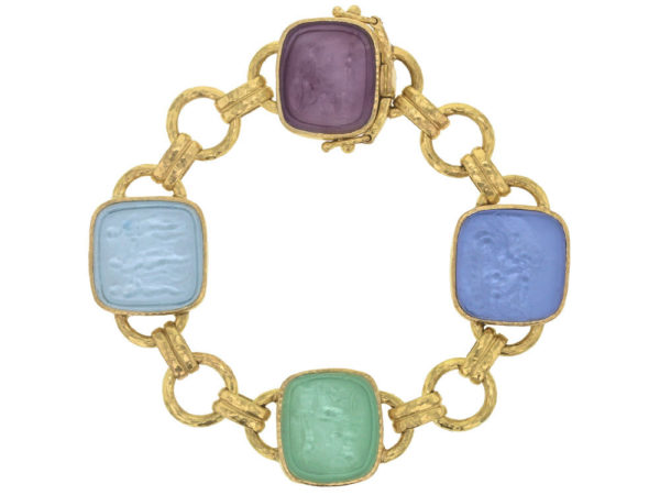 "Elizabeth Locke Pastel Venetian Glass Intaglio ""Seated Minerva"" Link Bracelet With Round and Banded Connectors and Box Clasp thumbnail"