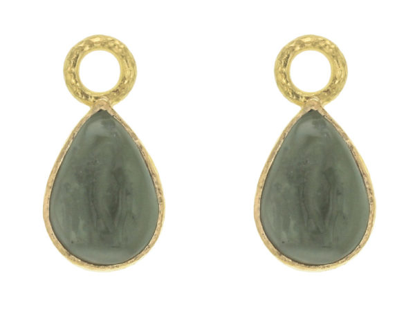 "Elizabeth Locke Smoke Venetian Glass Intaglio ""Small Pear Shape"" Earring Charms For Hoops thumbnail"