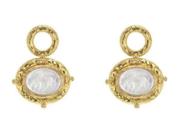 "Elizabeth Locke Crystal Venetian Glass Intaglio ""Micro Horse"" Earring Charms thumbnail"