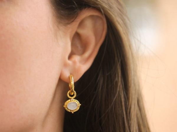 "Elizabeth Locke Crystal Venetian Glass Intaglio ""Micro Horse"" Earring Charms"