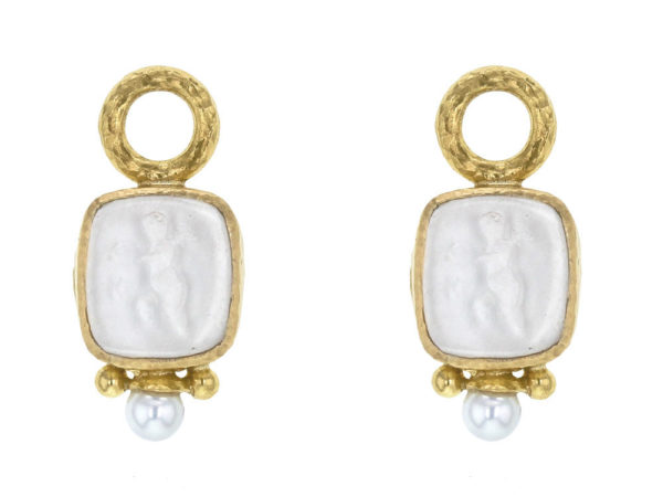 "Elizabeth Locke Crystal Venetian Glass Intaglio ""Square Putto"" Earring Charms With Pearls for Hoops thumbnail"