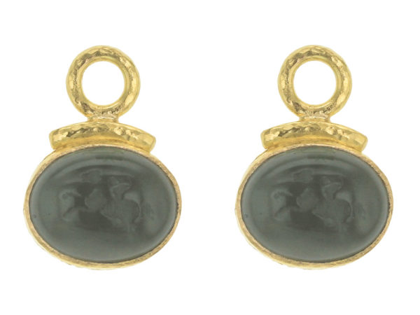 "Elizabeth Locke Smoke Venetian Glass Intaglio ""Cab Equestrian"" with Topknot Earring Charms for Hoops thumbnail"