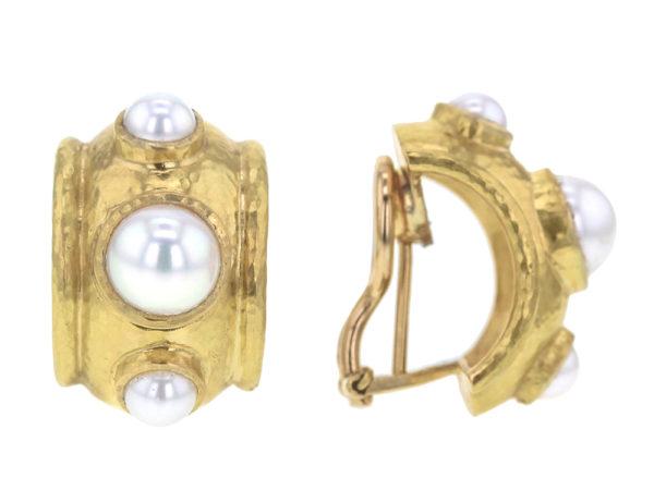 Elizabeth Locke Freshwater Pearls Set in Puffy Bezel Earrings model shot #2