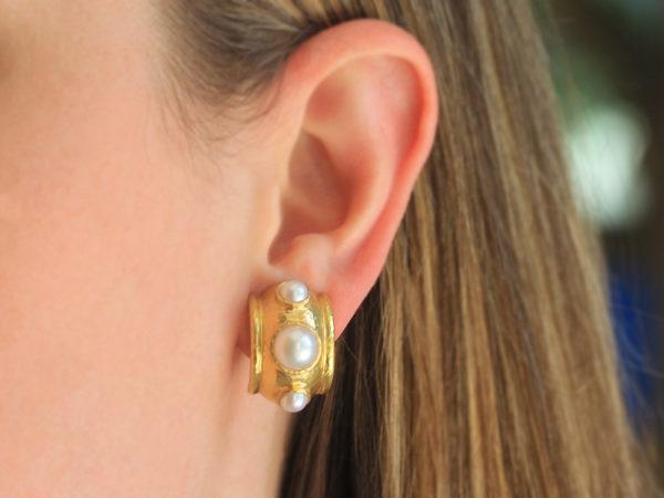 Elizabeth Locke Freshwater Pearls Set in Puffy Bezel Earrings