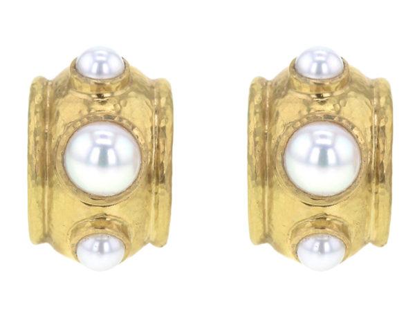 Elizabeth Locke Freshwater Pearls Set in Puffy Bezel Earrings thumbnail