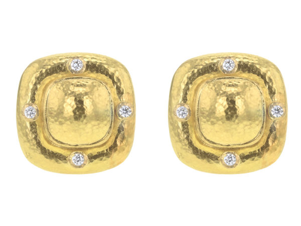 Elizabeth Locke Square Gold Dome Earrings with Diamonds thumbnail
