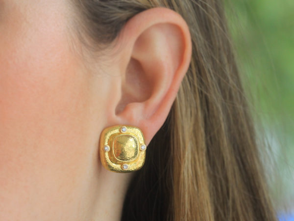 Elizabeth Locke Square Gold Dome Earrings with Diamonds
