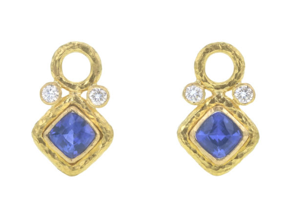 Elizabeth Locke Faceted Blue Sapphire and Diamond Earring Charms thumbnail
