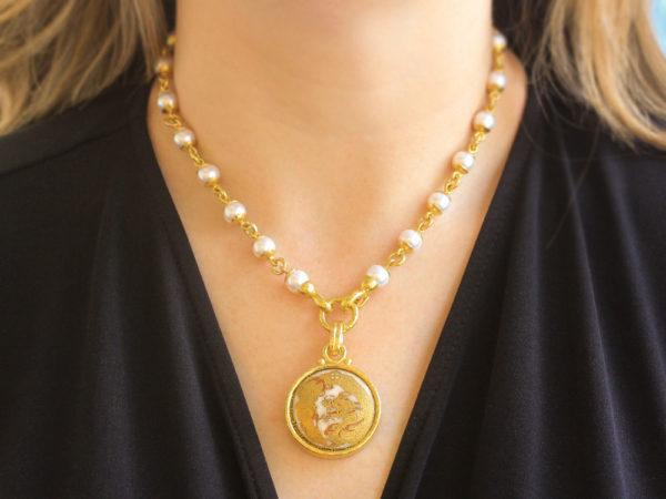 "Elizabeth Locke Antique One-of-a-kind Satsuma Porcelain Button ""Dragon"" Pendant"