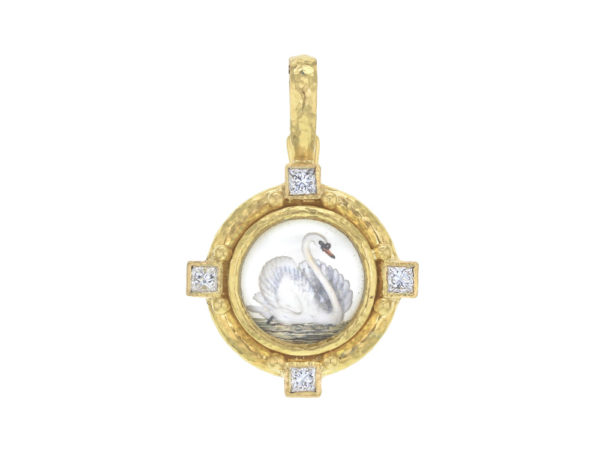 "Elizabeth Locke Antique Essex Crystal ""Swan"" Pendant with Diamonds thumbnail"