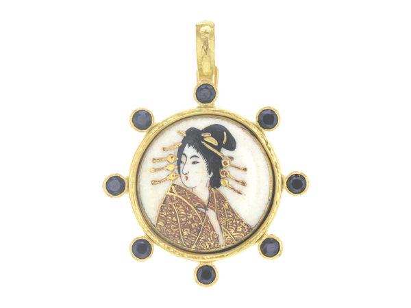 """Elizabeth Locke Antique Satsuma Porcelain Button """"Geisha Portrait"""" Pendant with Black Spinel thumbnail"""