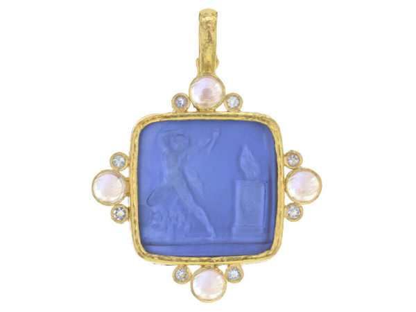 """Elizabeth Locke Cerulean Venetian Glass Intaglio """"Goddess at Altar"""" with Round Cabochon and Round Faceted Moonstone thumbnail"""