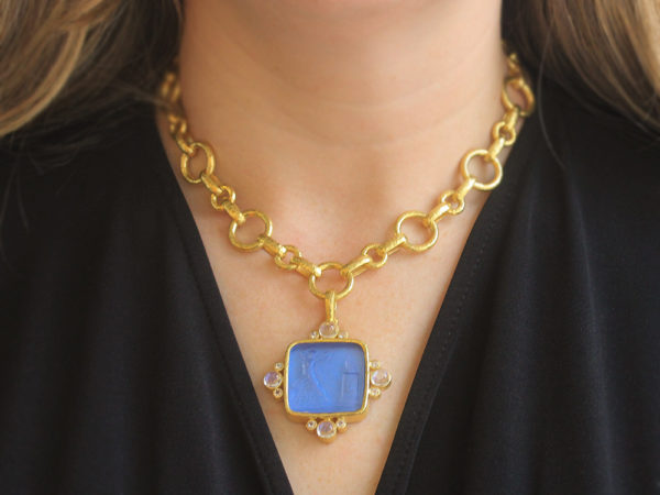 """Elizabeth Locke Cerulean Venetian Glass Intaglio """"Goddess at Altar"""" with Round Cabochon and Round Faceted Moonstone"""