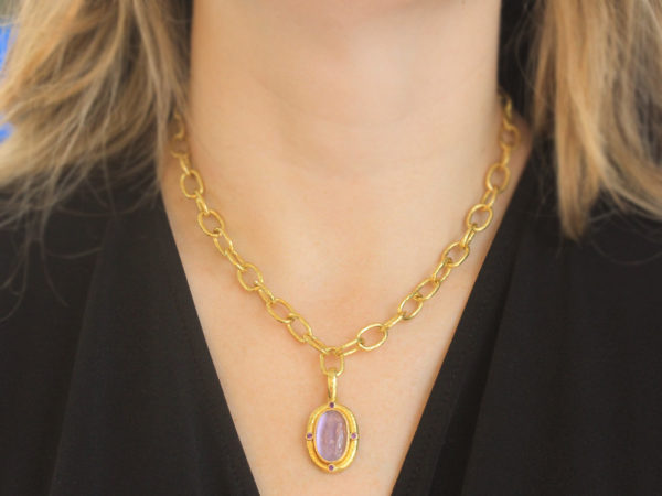 """Elizabeth Locke Mulberry Venetian Glass Intaglio """"Cabochon Standing Goddess"""" Pendant with Faceted Amethyst"""