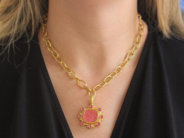 "Elizabeth Locke Pink Venetian Glass Intaglio ""Cherub with Sail"" Pendant With Round Pink Tourmalines"