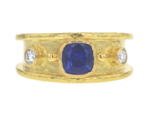Elizabeth Locke Cushion Blue Sapphire With Side Diamonds in Straight Cigar Band thumbnail