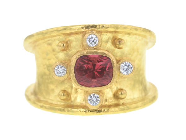 Elizabeth Locke Horizontal Faceted Red Spinel Cigar Band With Four Diamonds thumbnail
