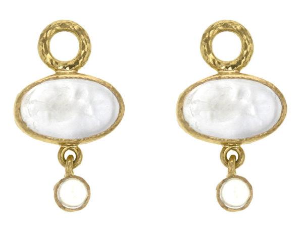 "Elizabeth Locke Crystal Venetian Glass Intaglio ""Flying Pegasus"" and Moonstone Earring Charms thumbnail"