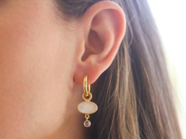 "Elizabeth Locke Crystal Venetian Glass Intaglio ""Flying Pegasus"" and Moonstone Earring Charms"