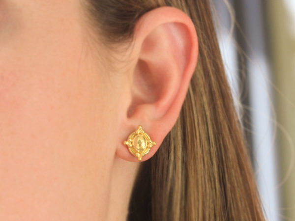Elizabeth Locke Gold Oval Dome with Gold Triads and Butterfly Back Stud Earrings model shot #1