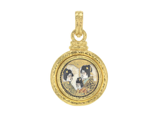 "Elizabeth Locke Antique Satsuma Porcelain Button ""Geishas Portrait"" Pendant with Topknot and Godron Bezel thumbnail"