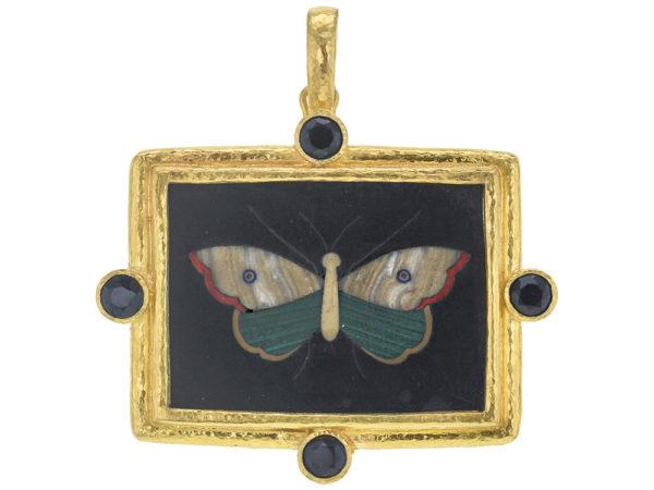 "Elizabeth Locke Horizontal Rectangular 19th Century Pietra Dura ""Moth"" Pendant with Round Faceted Black Spinel thumbnail"