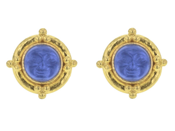 "Elizabeth Locke Cerulean Venetian Glass Intaglio ""Man-in-the-Moon"" Studs With Four Gold Triads thumbnail"