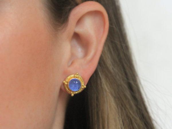 "Elizabeth Locke Cerulean Venetian Glass Intaglio ""Man-in-the-Moon"" Studs With Four Gold Triads"