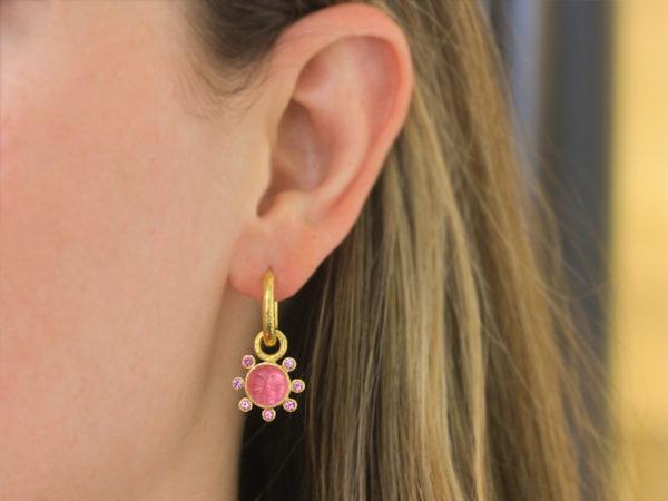 "Elizabeth Locke Pink Venetian Glass Intaglio ""Man in the Moon"" Earring Charms With Pink Sapphire Halo"
