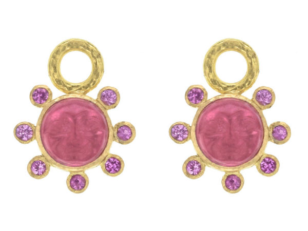 """Elizabeth Locke Pink Venetian Glass Intaglio """"Man in the Moon"""" Earring Charms With Pink Sapphire Halo thumbnail"""